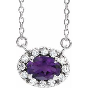 """Sterling Silver 5x3 mm Oval Amethyst & .05 CTW Diamond 16"""" Necklace"""