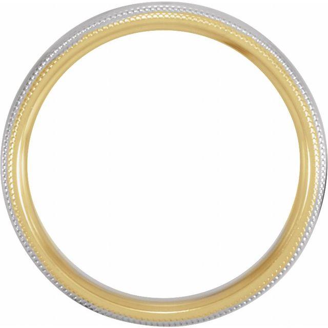 14K Yellow & White 5.5 mm Half Round Band with Double Milgrain Size 9.5