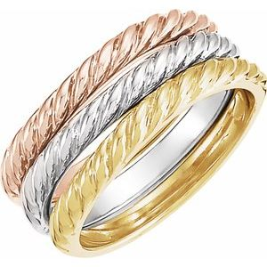 14K Tri-Color Twisted Rope Stackable Band - Set of 3