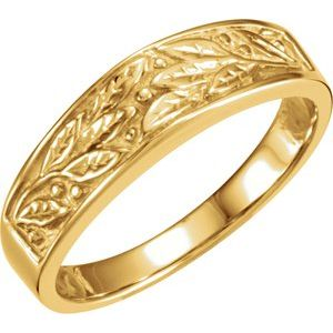 14K Yellow 6.5 mm Leaf Design Band