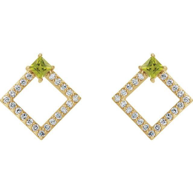 14K Yellow Peridot & 1/3 CTW Diamond Earrings