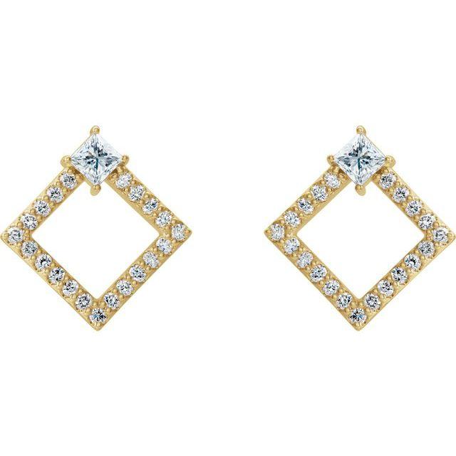 14K Yellow Sapphire & 1/3 CTW Diamond Earrings