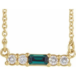 "14K Yellow Chatham® Created Alexandrite & 1/5 CTW Diamond 16"" Necklace"