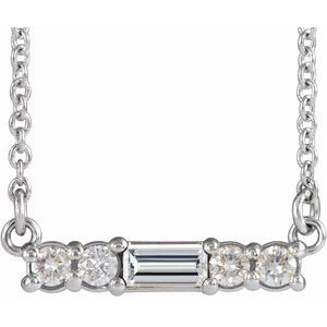 "Sterling Silver Multi-Shape Cubic Zirconia Bar 16"" Necklace"