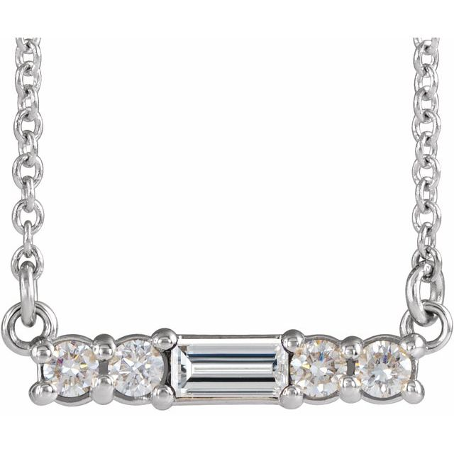 """Sterling Silver Multi-Shape Cubic Zirconia Bar 16"""" Necklace"""