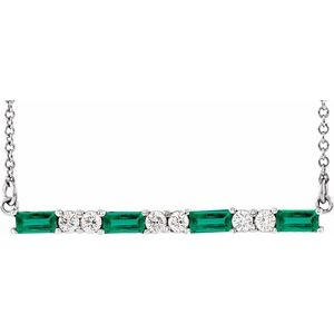 "14K White Chatham® Created Emerald & 1/5 CTW Diamond Bar 16-18"" Necklace"