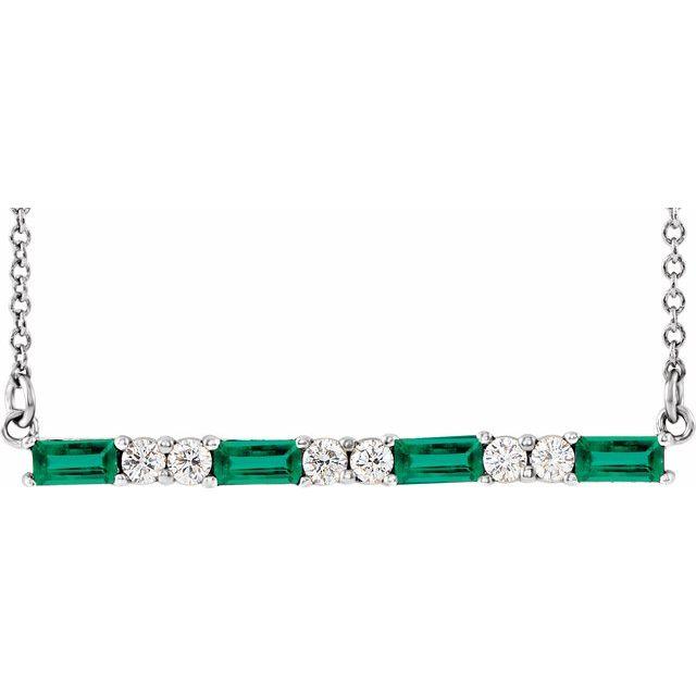 "14K White Chatham® Created Emerald & 1/5 CTW Diamond Bar 16-18"" Necklace"