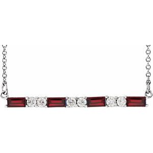 "14K White Garnet & 1/5 CTW Diamond Bar 16-18"" Necklace"