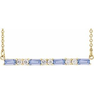 "14K Yellow Tanzanite & 1/5 CTW Diamond Bar 16-18"" Necklace"