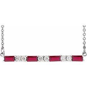 "14K White Ruby & 1/5 CTW Diamond Bar 16-18"" Necklace"