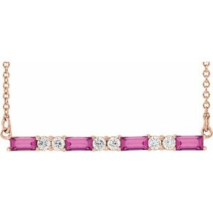 "14K Rose Pink Tourmaline & 1/5 CTW Diamond Bar 16-18"" Necklace"