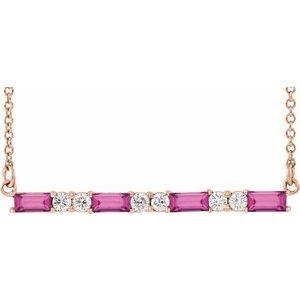"""14K Rose Pink Tourmaline & 1/5 CTW Diamond Bar 16-18"""" Necklace"""