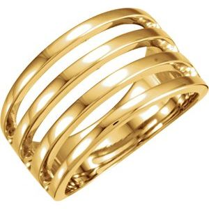 14K Yellow 11 mm Negative Space Band