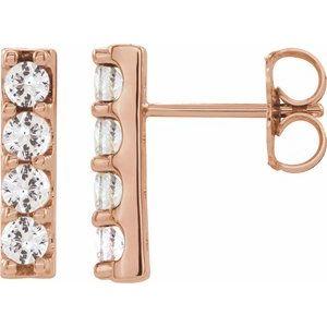 14K Rose 1/2 CTW Lab-Grown Diamond Bar Earrings