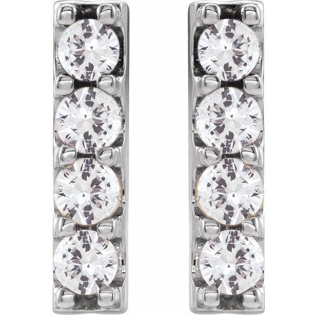 14K White 1/2 CTW Lab-Grown Diamond Bar Earrings