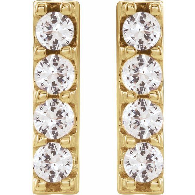 14K Yellow 1/2 CTW Lab-Grown Diamond Bar Earrings