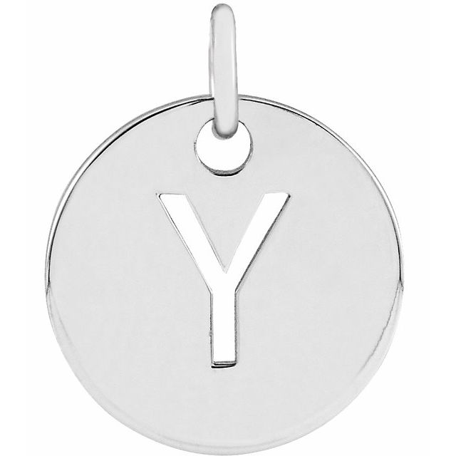 Sterling Silver Initial Y 10 mm Disc Pendant