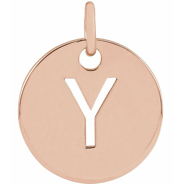 18K Rose Gold-Plated Sterling Silver Initial Y 10 mm Disc Pendant