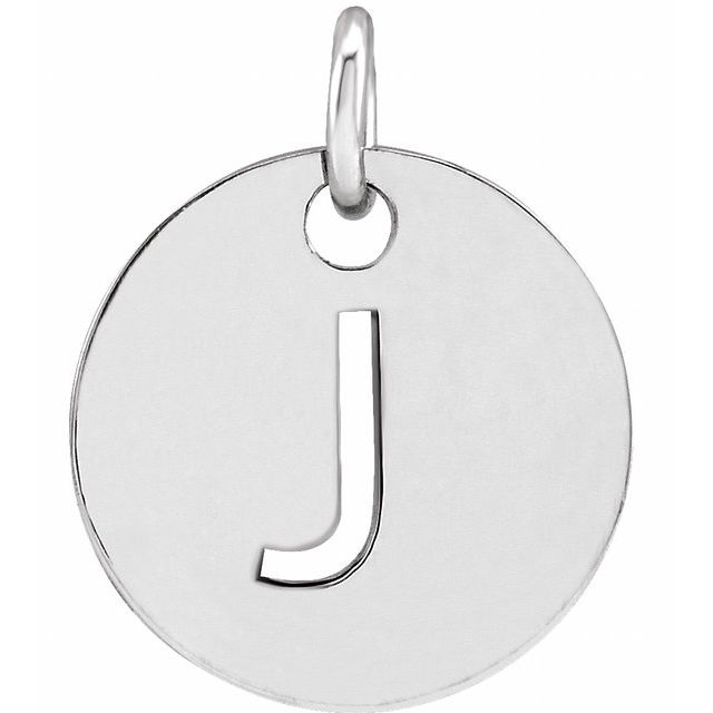 Sterling Silver Initial J 10 mm Disc Pendant