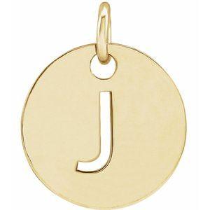 14K Yellow Initial J 10 mm Disc Pendant