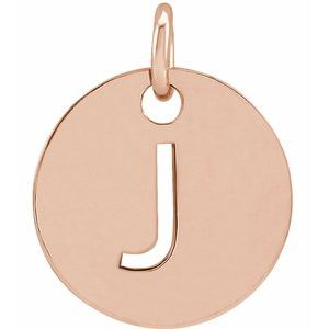 18K Rose Gold-Plated Sterling Silver Initial J 10 mm Disc Pendant