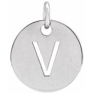 Sterling Silver Initial V 10 mm Disc Pendant