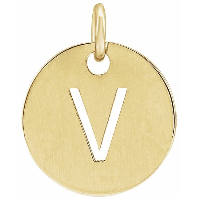 18K Yellow Gold-Plated Sterling Silver Initial V 10 mm Disc Pendant