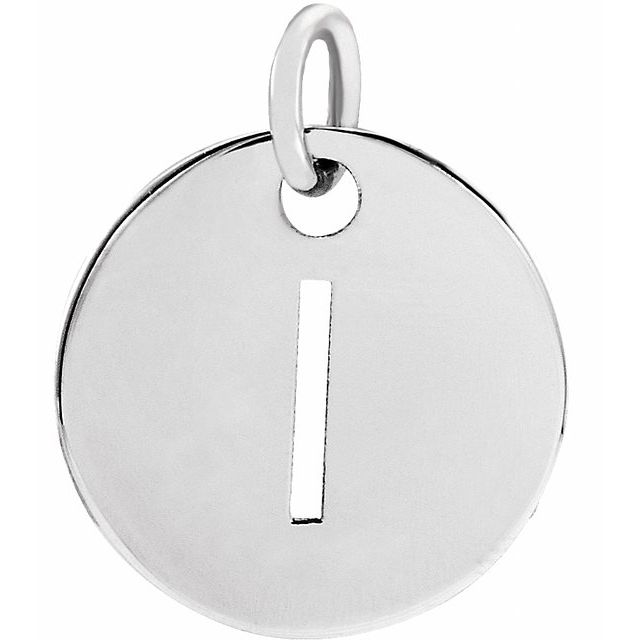 Sterling Silver Initial I 10 mm Disc Pendant