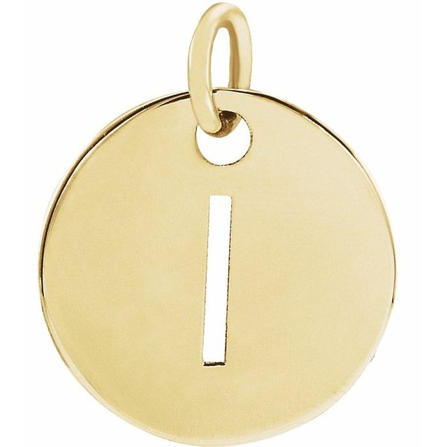 18K Yellow Gold-Plated Sterling Silver Initial I 10 mm Disc Pendant