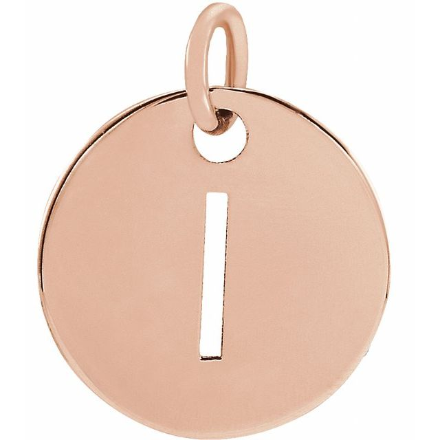 18K Rose Gold-Plated Sterling Silver Initial I 10 mm Disc Pendant