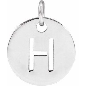 Sterling Silver Initial H 10 mm Disc Pendant