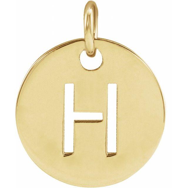 14K Yellow Initial H 10 mm Disc Pendant