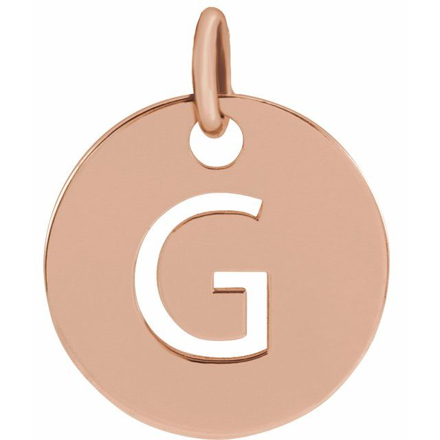 18K Rose Gold-Plated Sterling Silver Initial G 10 mm Disc Pendant
