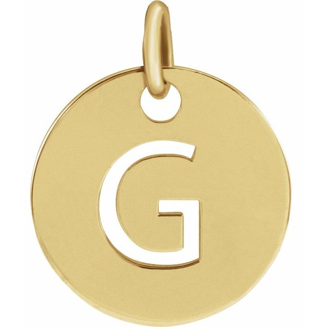 18K Yellow Gold-Plated Sterling Silver Initial G 10 mm Disc Pendant