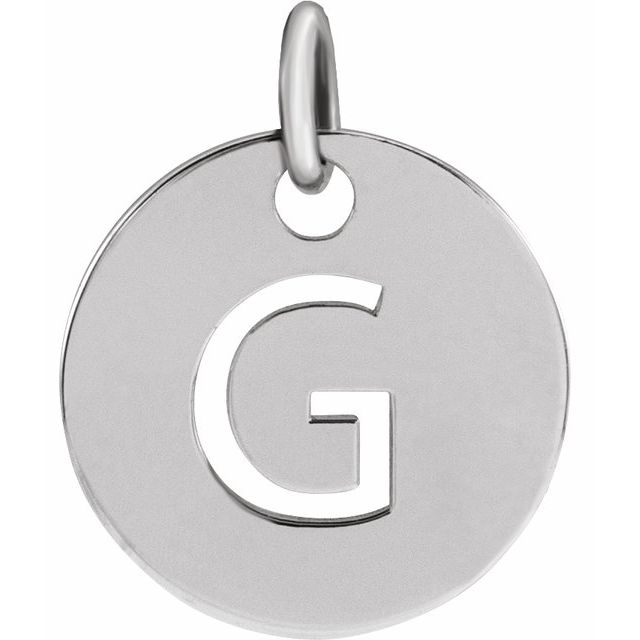 Sterling Silver Initial G 10 mm Disc Pendant