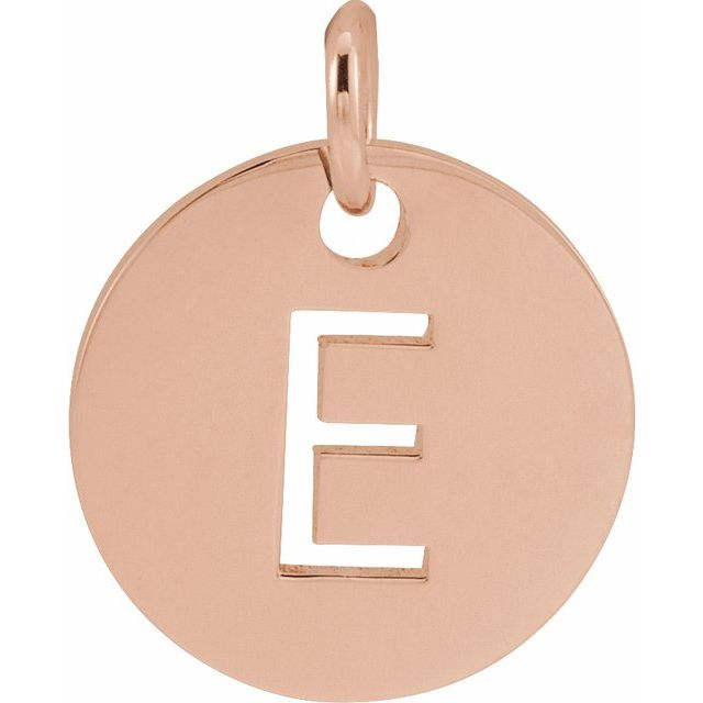 18K Rose Gold-Plated Sterling Silver Initial E 10 mm Disc Pendant