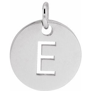 14K White Initial E 10 mm Disc Pendant