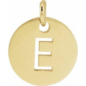18K Yellow Gold-Plated Sterling Silver Initial E 10 mm Disc Pendant