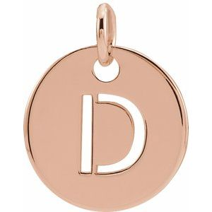 18K Rose Gold-Plated Sterling Silver Initial D 10 mm Disc Pendant