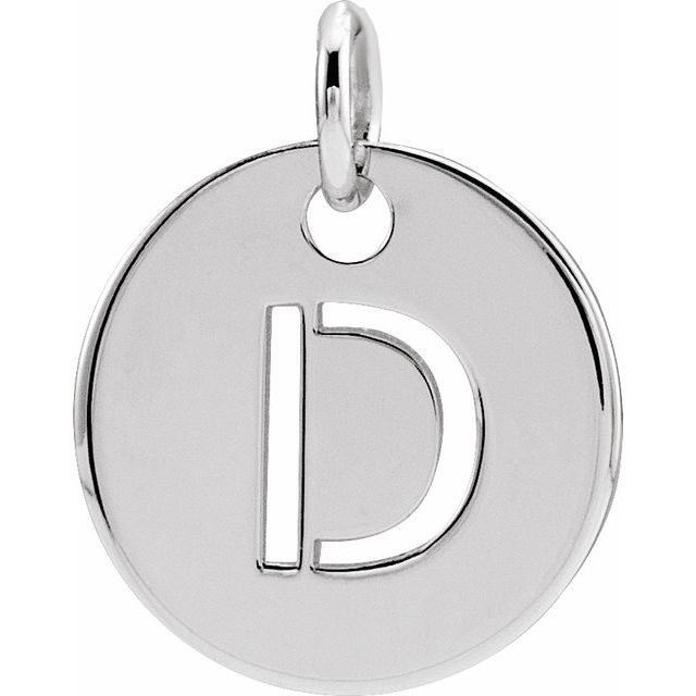 Sterling Silver Initial D 10 mm Disc Pendant