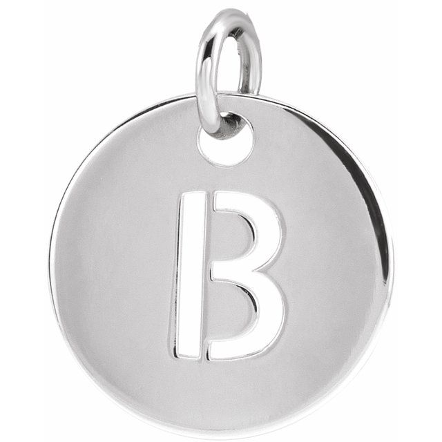 Sterling Silver Initial B 10 mm Disc Pendant