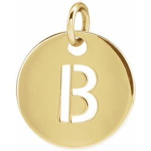 14K Yellow Initial B 10 mm Disc Pendant