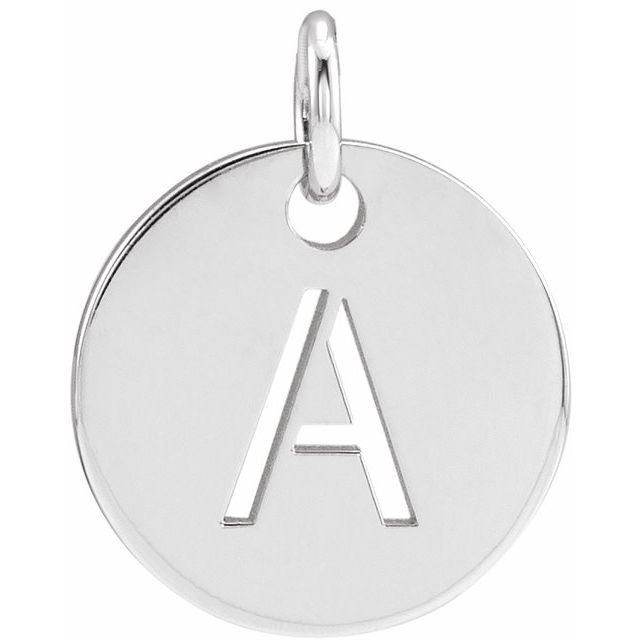 Sterling Silver Initial A 10 mm Disc Pendant