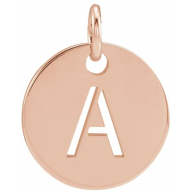 18K Rose Gold-Plated Sterling Silver Initial A 10 mm Disc Pendant