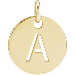 18K Yellow Gold-Plated Sterling Silver Initial A 10 mm Disc Pendant
