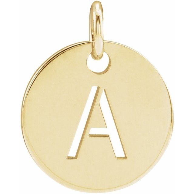 14K Yellow Initial A 10 mm Disc Pendant