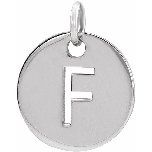 Sterling Silver Initial F 10 mm Disc Pendant