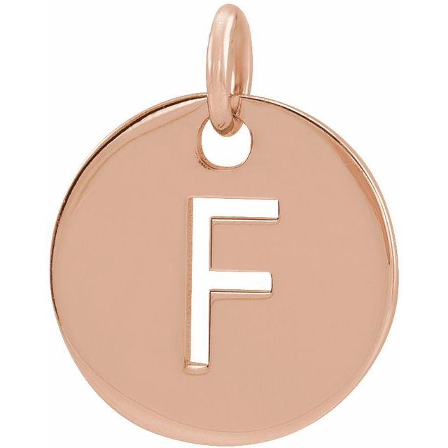 18K Rose Gold-Plated Sterling Silver Initial F 10 mm Disc Pendant
