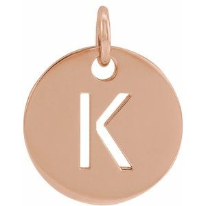 14K Rose Initial K 10 mm Disc Pendant