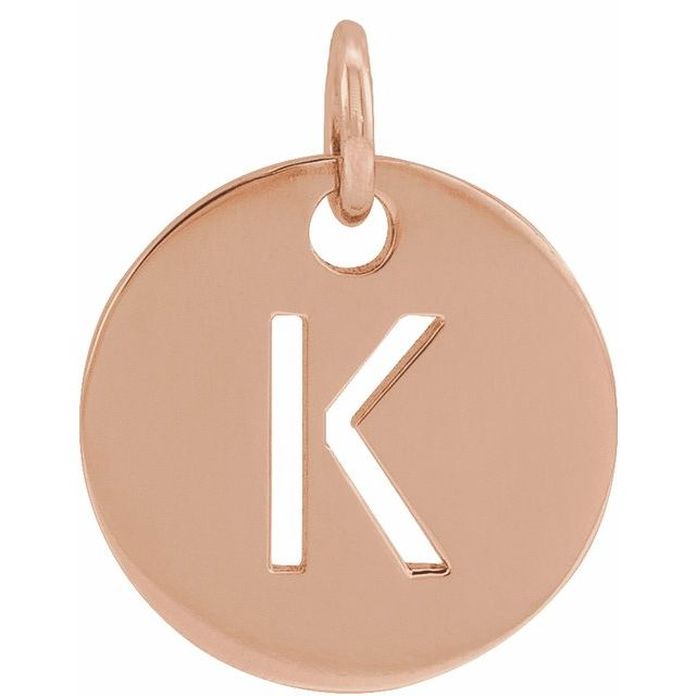 18K Rose Gold-Plated Sterling Silver Initial K 10 mm Disc Pendant